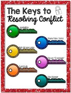 Keys to Conflict activity; lesson on conflict resolution,