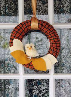 A handmade Fall wreath.