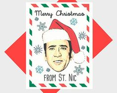 Funny Christmas Card - Nicolas Cage - Funny Holiday Card - Merry Christmas From Nicolas Cage - Nicholas Cage - Greeting Card