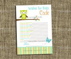PRINTABLE WISH LIST Owl Baby Boy Shower Collection - Memorable Moments Studio. $5.00, via Etsy.