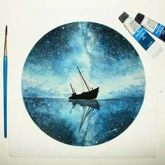 Blue and Round Fantasy Watercolor Paintings – Galaxy Art Circle Painting, Galaxy Painting, Galaxy Art, Painting & Drawing, Watercolor Illustration, Watercolor Art, Watercolor Scenery, Painting Inspiration, Art Inspo