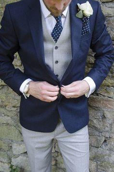 Navy Grey Suit Groom Polka Dot  / http://www.deerpearlflowers.com/navy-blue-and-white-wedding-ideas/