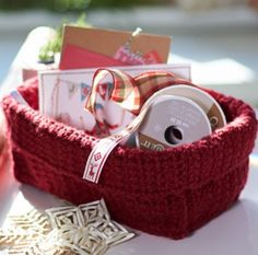 Simple Stash Basket - Perfectly sized for your extra crafting materials, this basket is an easy crochet pattern to work up. The folded edge adds a nice touch.