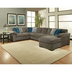 Add comfort and style to your home with this three piece micro-denier sectional. The seat cushion and pillow back have a 1.9 high density foam to give it a soft and supportive sit.