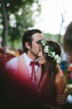 {HITCHED} Brittney & James Wedding // Paige Newton Photography // New Braunfels wedding // Flower crown // Leather tie