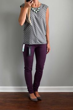 Dear stitch fix stylist- I love these purple Liverpool Adele Skinny Jeans. I would love to have a pair. I also really like the top. Perfect business casual outfit I'm looking for Trajes Business Casual, Business Casual Outfits, Fall Business Casual, Casual Office Attire, Office Wear, Adele Skinny, Mode Outfits, Fashion Outfits, Fashion Scarves