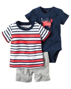 Baby Boy 3-Piece Little Short Set from Carters.com. Shop clothing & accessories from a trusted name in kids, toddlers, and baby clothes.