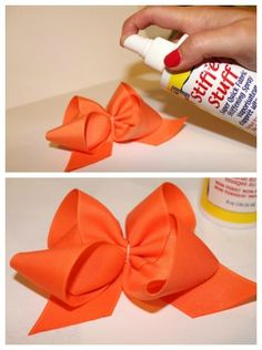 Spray Stiffen Stuff on your bow to help it keep it's shape. It will be stiff. Spray Stiffen Stuff on your bow to help it keep it's shape. It will be stiff. Diy Hair Bows, Making Hair Bows, Diy Bow, Homemade Hair Bows, Ribbon Making, Boutique Bows, Bracelets Rainbow Loom, Loom Bracelets, Boutique Bow Tutorial