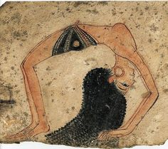 Ancient Egyptian depiction of topless dancer with elaborate hairstyle and hoop earrings in gymnastic backbend, on ostrakon. 1292-1186 BC.