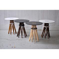 Bundle Black Corian Side Table - Hard Maple