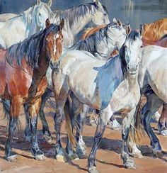 """Parallel Lines"" - Limited Editions - Limited Edition / Prints - Sophy Brown Horse Drawings, Animal Drawings, Watercolor Horse, Horse Artwork, Cow Art, Animal Paintings, Horse Paintings, Equine Art, Western Art"
