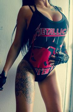 metallica | upper thigh tattoo | body suit | hair