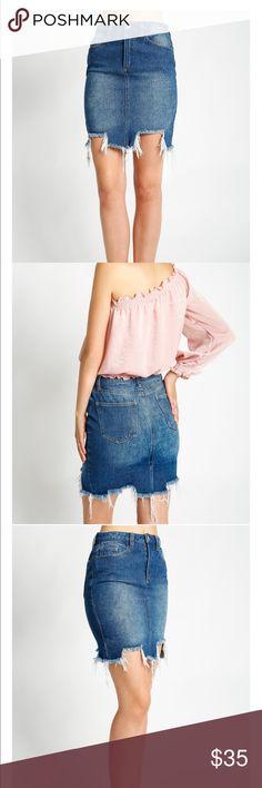 Destructed denim skirt Super cool destructed uneven hem denim skirt. 💯 % cotton. Skirts Asymmetrical
