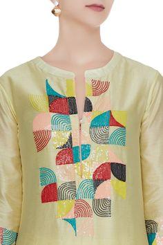 Best 12 Buy Off-white khadi a-line kurta set by Devnaagri at Aza Fashions – SkillOfKing. Embroidery Suits Punjabi, Embroidery On Kurtis, Hand Embroidery Dress, Kurti Embroidery Design, Embroidery Neck Designs, Embroidery On Clothes, Embroidery Ideas, Kurti Neck Designs, Sleeve Designs