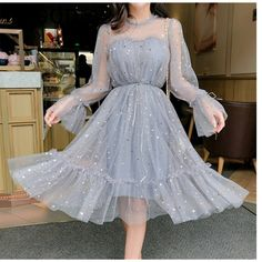 RUGOD New shiny women dress sequined transparent loose a line mesh patchwork elegant solid summer dress korean style kimono Grey Party Dresses, Sequin Prom Dresses, Sequin Dress, Mesh Dress, Dress Party, Lace Dress, Dresses Dresses, Gray Dress, Dresses Online