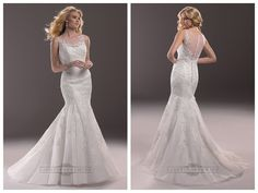 Fit and Flare Illusion Bateau Neckline Lace Wedding Dresses with Illusion Back