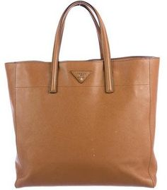 Cognac Saffiano leather Prada Soft Triple Pocket tote with gold-tone  hardware e96ff697f6d