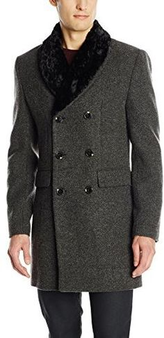 Scotch & Soda Men's Double Breasted Jacket with Detachable Faux Fur Collar