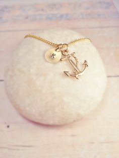 Gold Initial Necklace on a Disc with a Anchor - Personalised Jewelry - Gold Plated Necklace - Great Valentine Gift idea