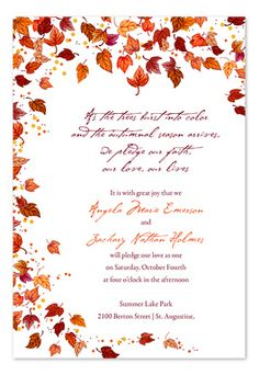 DIY Wedding Pocketfold Template Autumn Leaves Red Orange Green