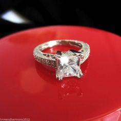 2.06ct Vintage Style Princess Brilliant cut Engagement ring 14K Solid White Gold