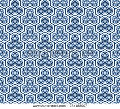 Seamless Oriental Pattern of Scales of Eastern Armor, Decorated with Abstract Flower Pattern.