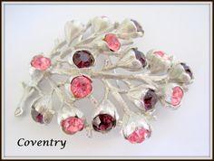 Sarah Coventry Purple Pink Brooch - Wisteria Pattern - 1962 Rhinestone Pin