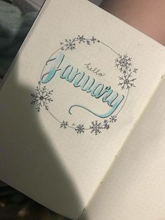 Bullet journal monthly cover theme for january snowflake cir Bullet Journal Budget, February Bullet Journal, Bullet Journal Cover Ideas, Bullet Journal Monthly Spread, Bullet Journal Cover Page, Bullet Journal Inspo, Bullet Journal Ideas Pages, Bullet Journal Layout, Journal Covers