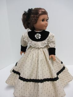 1800's Cotton Black and Cream Dress for Marie Grace