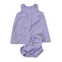 Vestido de niña de 6-9 meses.  Marca Benetton de lino malva con flores bordadas.  #vestido #niña #lino #malva #flores #trueque