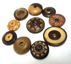 ANTIQUE TAGUA NUT VEGETABLE IVORY WHISTLE Buttons