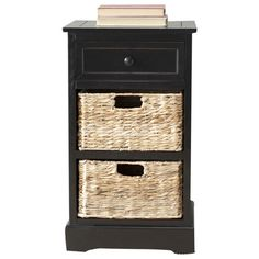 Distressed black wood accent table with three wicker drawers.  Product: Accent tableConstruction Material: Pine a...