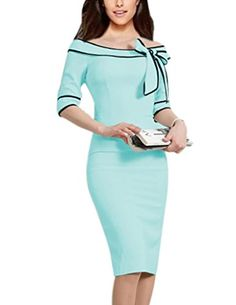 Women's Retro Sleeve Bow Cocktail Party Evening Dress Work Pencil Dress (S, Light Blue)Just say no to drab, gray dresses. Elegant Dresses, Beautiful Dresses, Mode Glamour, Bodycon Dress With Sleeves, Business Dresses, Overall, Chic Dress, African Dress, Pencil Dress