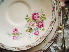 vintage floral saucers - beautiful