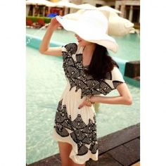 $7.78 Modern Style Short Sleeves Scoop Neck Peacock Tail Print Cotton Blend Dress For Women
