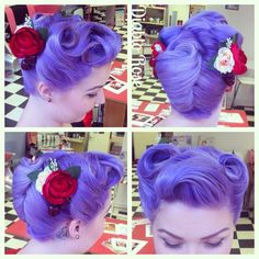 Gorgeous vintage style purple hair by Diablo Rose. I just love those pin curls and retro roses!!!