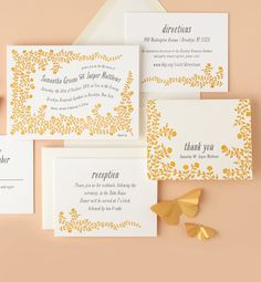 Sunshine brights yellow wedding letterpress invitations from Minted.com
