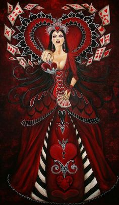 Queen of Hearts/ Alice in Wonderland # dark fantasy Queen Of Hearts Alice, Lizzie Hearts, Queen Of Hearts Tattoo, Alice In Wonderland Series, Wonderland Party, Adventures In Wonderland, Chesire Cat, Alice Madness Returns, Wow Art