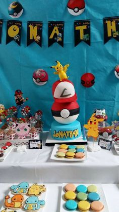 Take a look at this fun Pokemon Birthday Party! The cake is so cool! See more ideas and share yours at CatchMyParty.com 6th Birthday Parties, Boy Birthday, Surprise Birthday, Birthday Ideas, Bridal Shower Cakes, Baby Shower Cakes, Pokemon Photo, Party Time, Party Fun