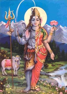 Shiva Ardhanarinara (half male and half female).  He can also be depicted as a hermaphrodite.