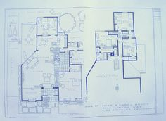 Wonderful 24 x 36 blueprint of the Brady Bunch House. Made the old-fashioned way - with ammonia activated paper on a Diazit blueprint machine.
