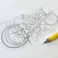 Awesome handlettering sketched logo
