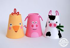 Cup Farm Animals Call Old MacDonald! He's missing some of his Foam Cup Farm Animals. Cute and fun animal crafts like these will have your kids singing E-I-E-I-O because these are some of the best easy crafts for kids to make. Farm Animal Crafts, Pig Crafts, Farm Crafts, Animal Crafts For Kids, Crafts For Kids To Make, Preschool Crafts, Art For Kids, Farm Animals, Easter Crafts