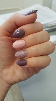 #gelnails #violet #pink #glitter