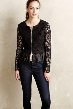 NEW Anthropologie Lili's Closet black Lace Peplum Cardigan Bomber Jacket L…