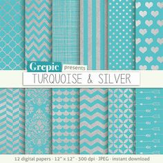 teal & silver paper - $4.90 Etsy Grepic