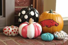 Beautiful painted pumpkins..including an Arkansas Razorback pumpkin..:)