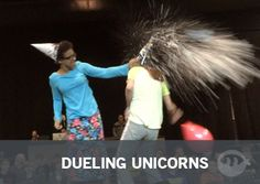 Dueling Unicorns | Fun Ninja Youth Group Games Supplies You'll Need: 1. Party Hats. The nice big ones! The little party favor ones work but don't look as awesome. 2. Balloons. Find the biggest BUT thinnest balloon! You want them thin so they pop easier. 3. Shaving Cream. Yes… its gonna get messy. 4. Plastic Wrap. Make clean up easier for yourself.