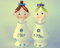 Vintage 1950s Holt Howard Pixieware Salt & Pepper Shakers
