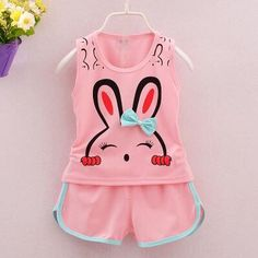 Cheap girls summer sets, Buy Quality children clothing set directly from China clothing sets Suppliers: Baby Girl Clothes Fashion Cartoon Rabbit Girls Summer Set Clothes Baby Suits Kids Sleeveless TShirt +Pants Children Clothing Set Cute Comfy Outfits, Cute Girl Outfits, Baby Girl Dresses, Toddler Outfits, Baby Boy Outfits, Kids Outfits, Girls Fashion Clothes, Toddler Fashion, Kids Fashion